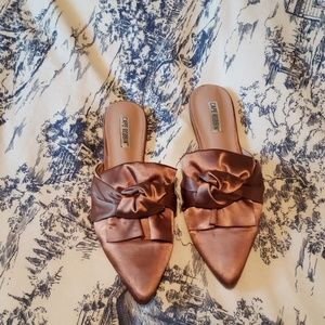 Satin pink bow mules size 8